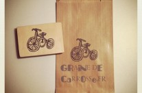 Tampon gravé main Tricycle Vintage